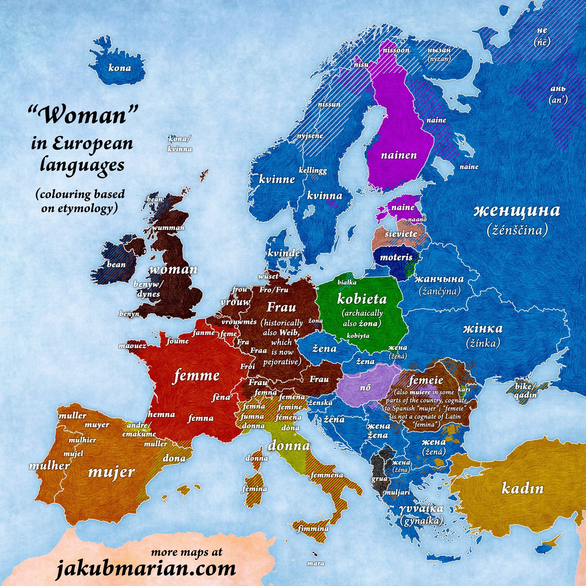 Woman in European languages