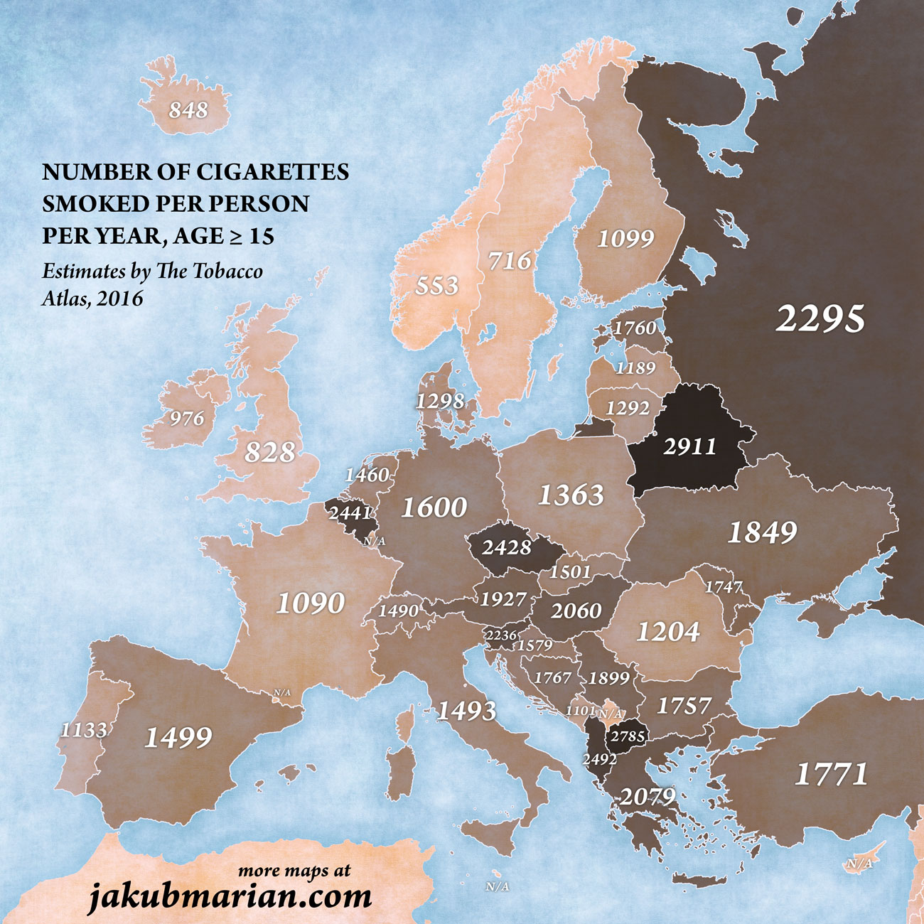 Cigarette consumption by country in Europe