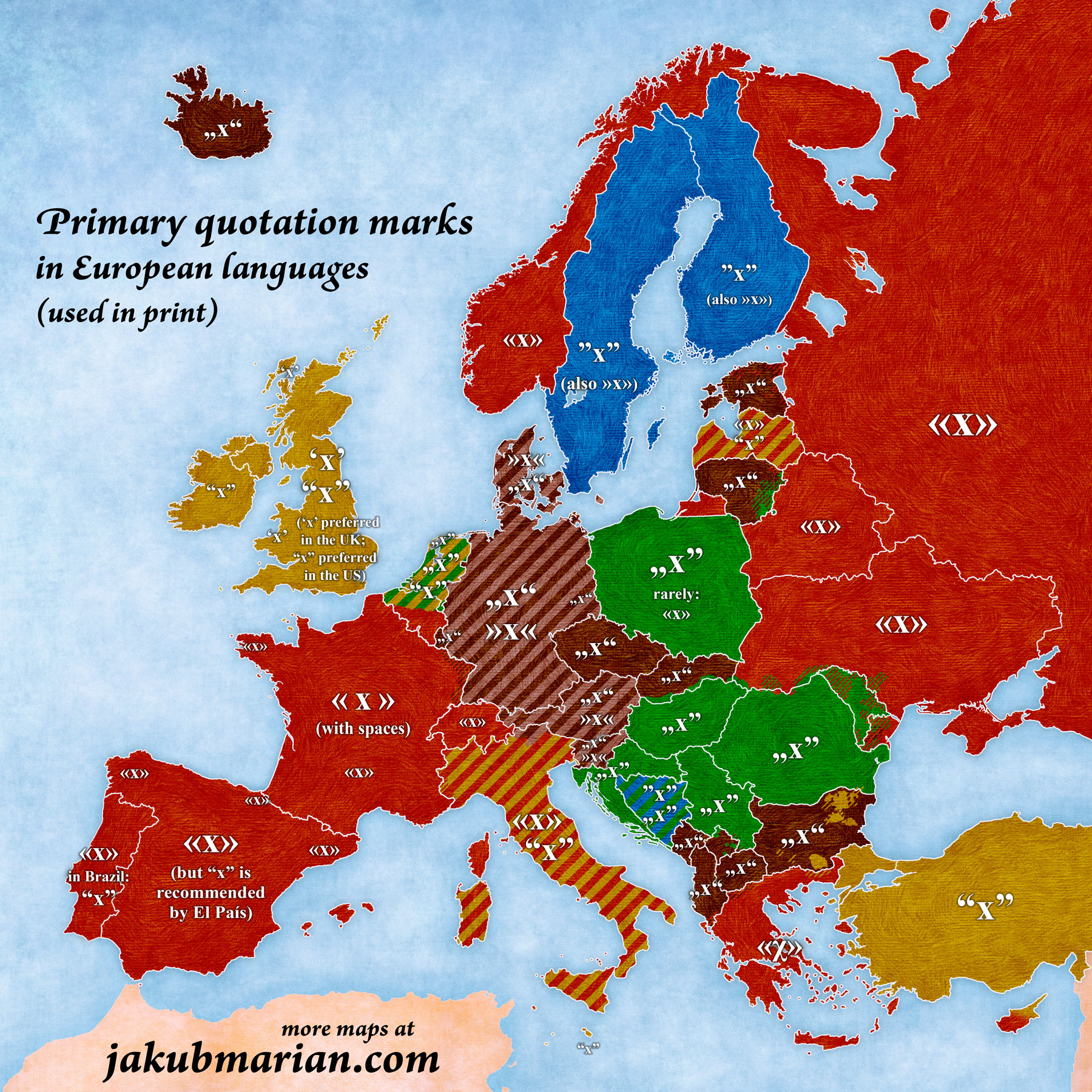Map of quotation marks in European languages