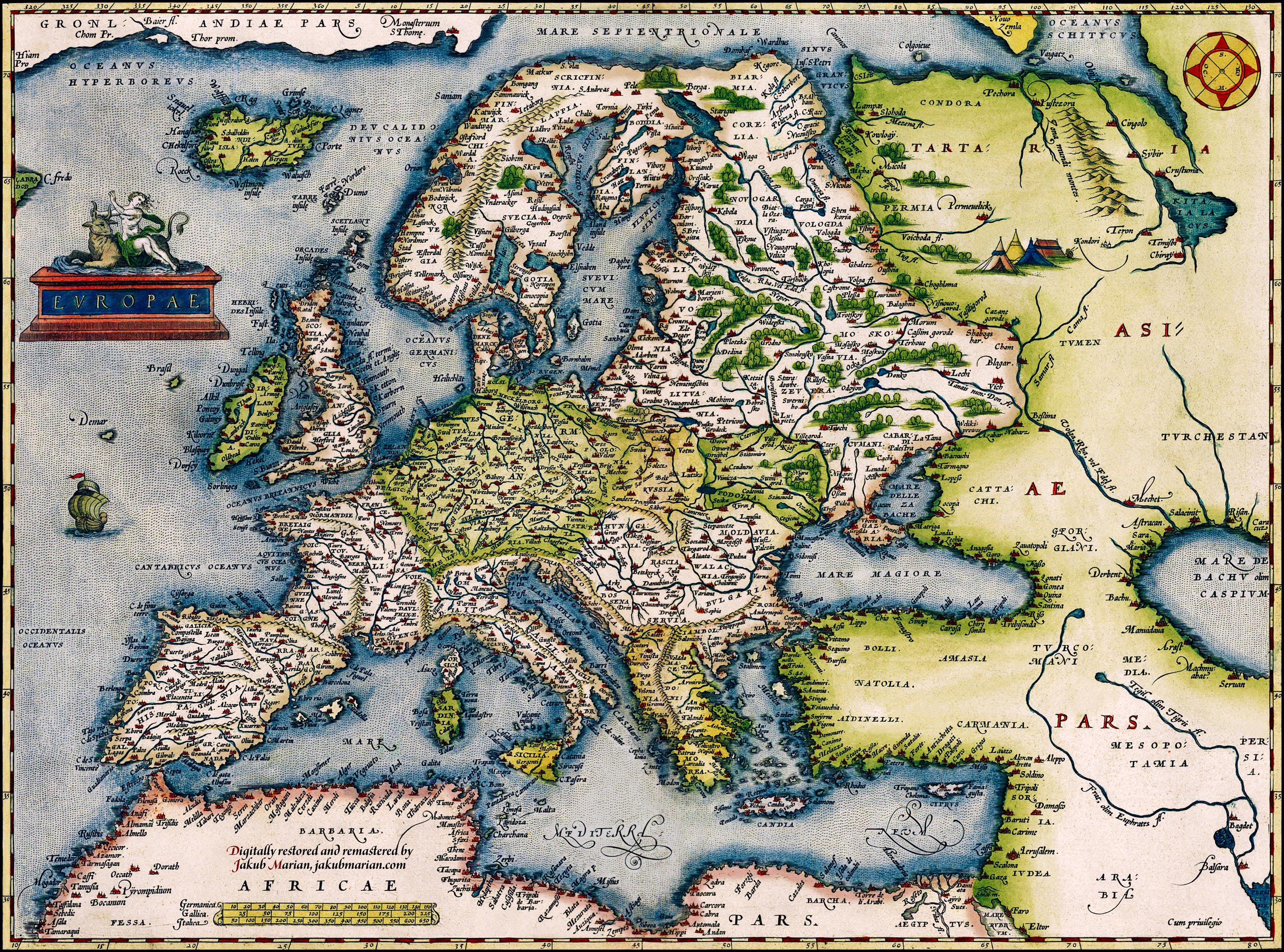 1572 map of Europe by Abraham Ortelius