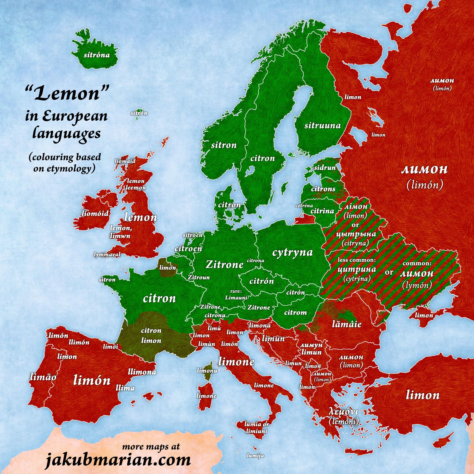 lemon in European languages