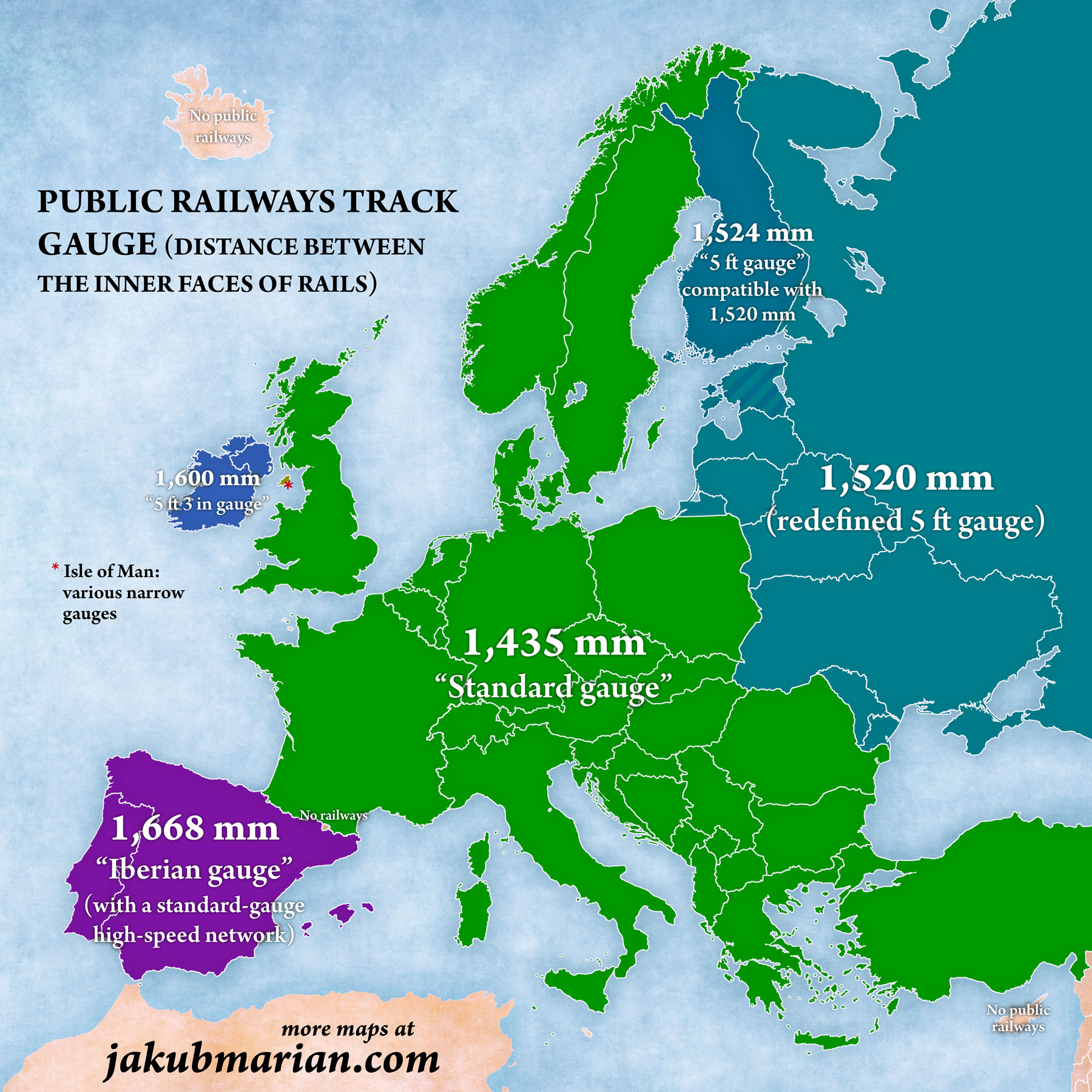 Railway track gauges in Europe