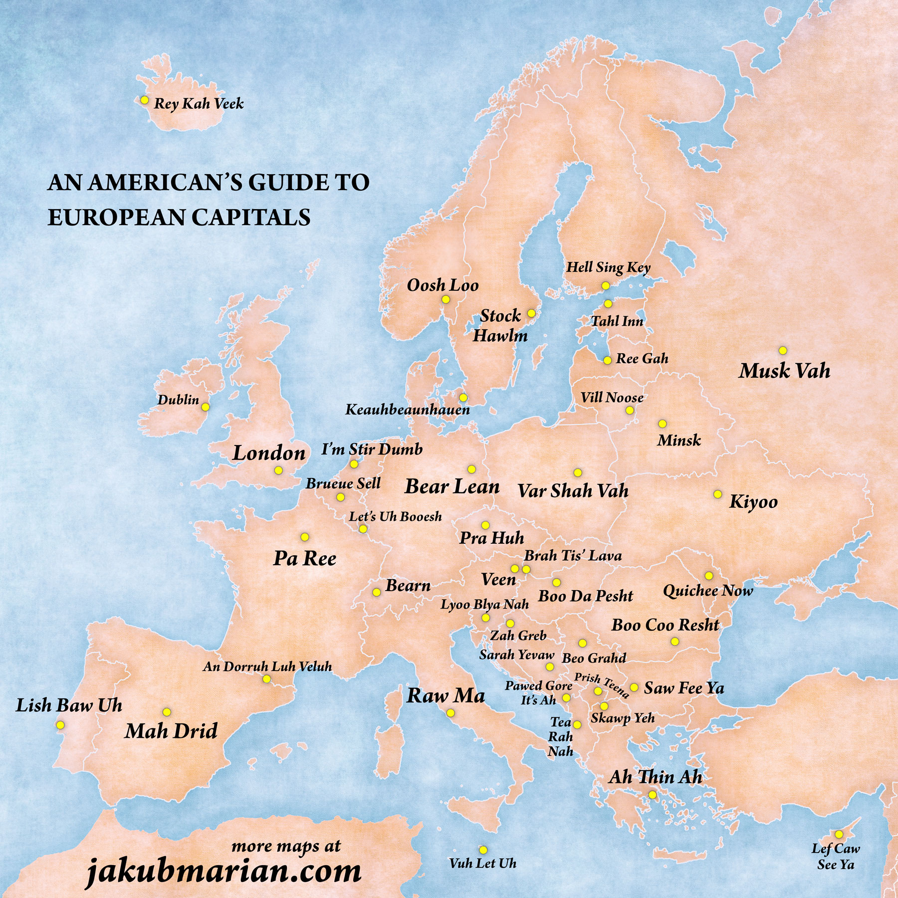 Pronunciation of European capitals