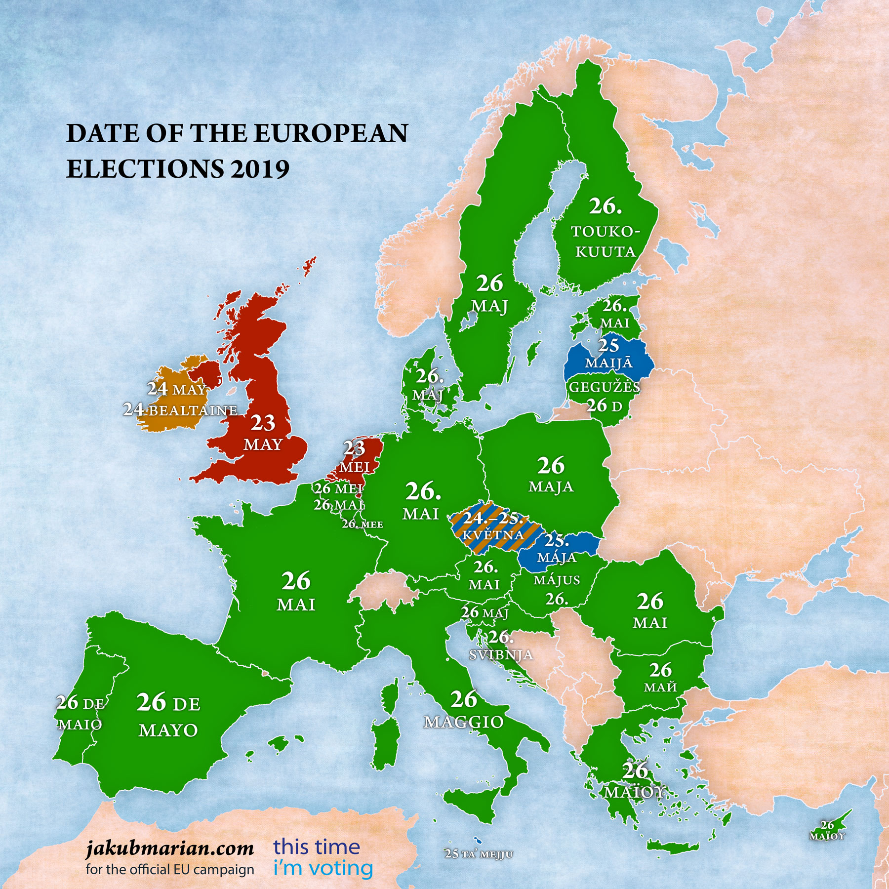 European Parliament election date by country